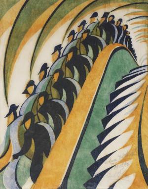 """Maschinen-Menschen (""""Whence & Whither"""" von Cyril Power, Linolschnitt, gedruckt in Farbe, um 1930)"""